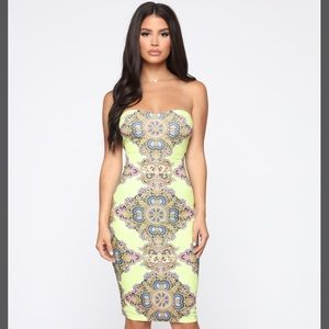 Fashion Nova Sexy Lime Tube Print Dress Small NWT